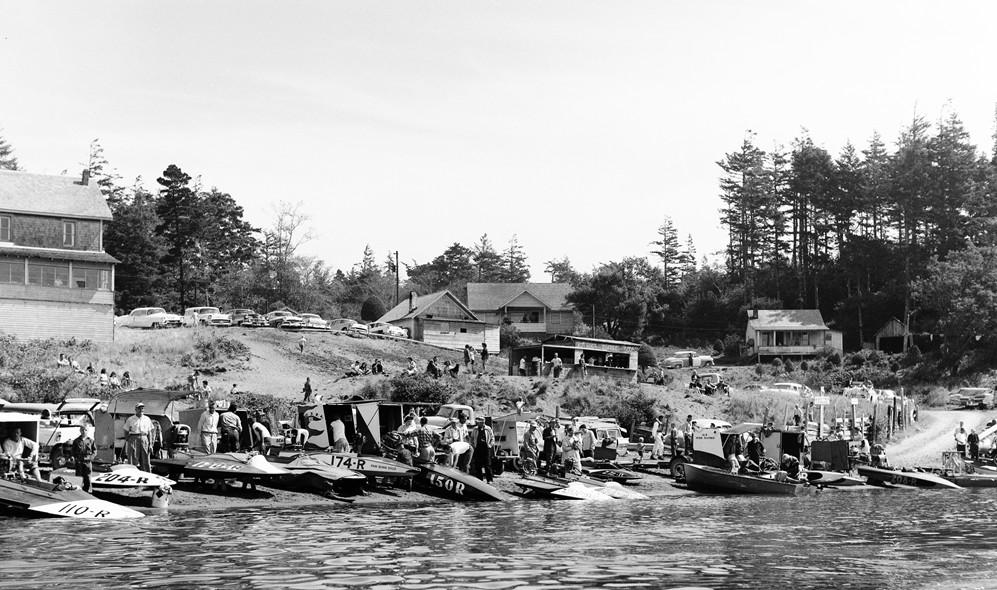 Hydroplane races at Floras Lake, 1957