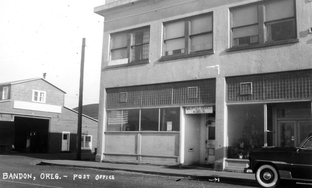 Bandon post office after the fire of 1936
