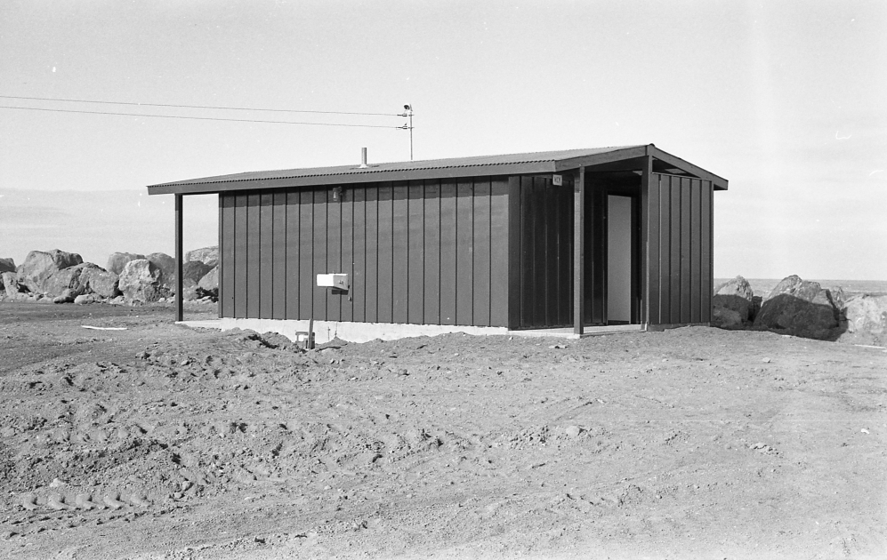 Original restroom building at the South Jetty, 1965