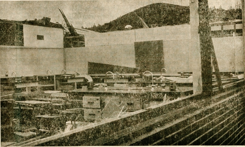 Science room at Pacific High School after Columbus Day Storm, 1962