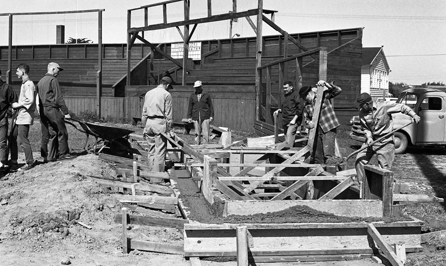 Building a baseball dugout 1965