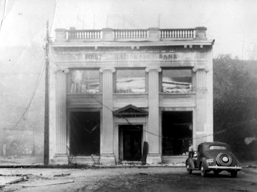 First National Bank building after the Fire of 1936