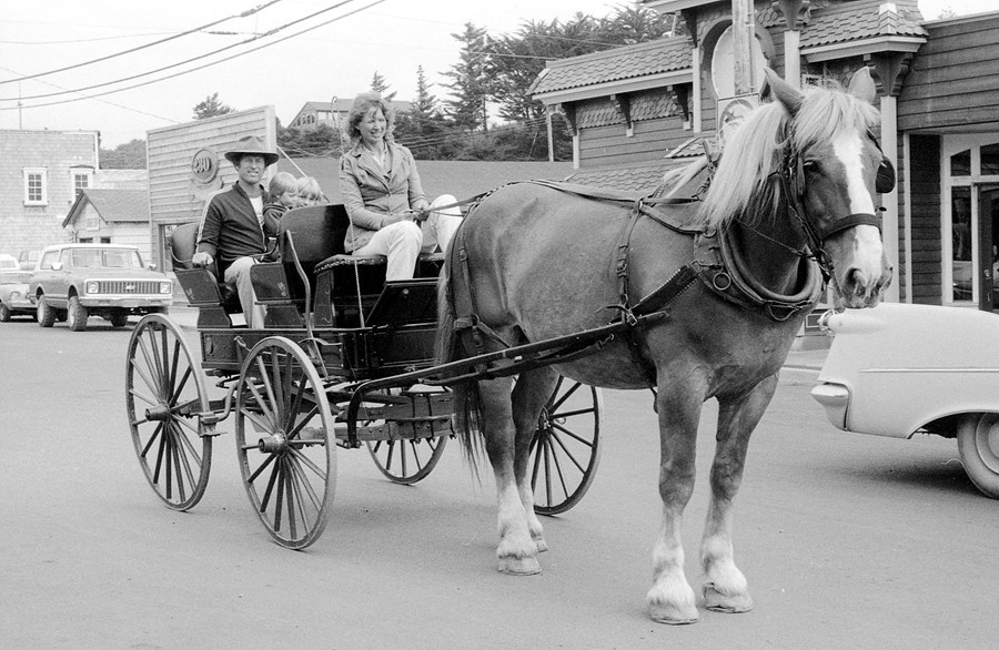 Bonnie Joyce giving rides in her horse-drawn wagon, early '80s