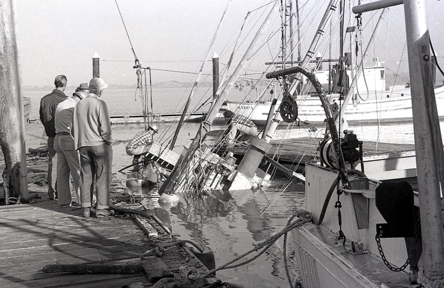 Fishing vessel Rea, sunk at the dock