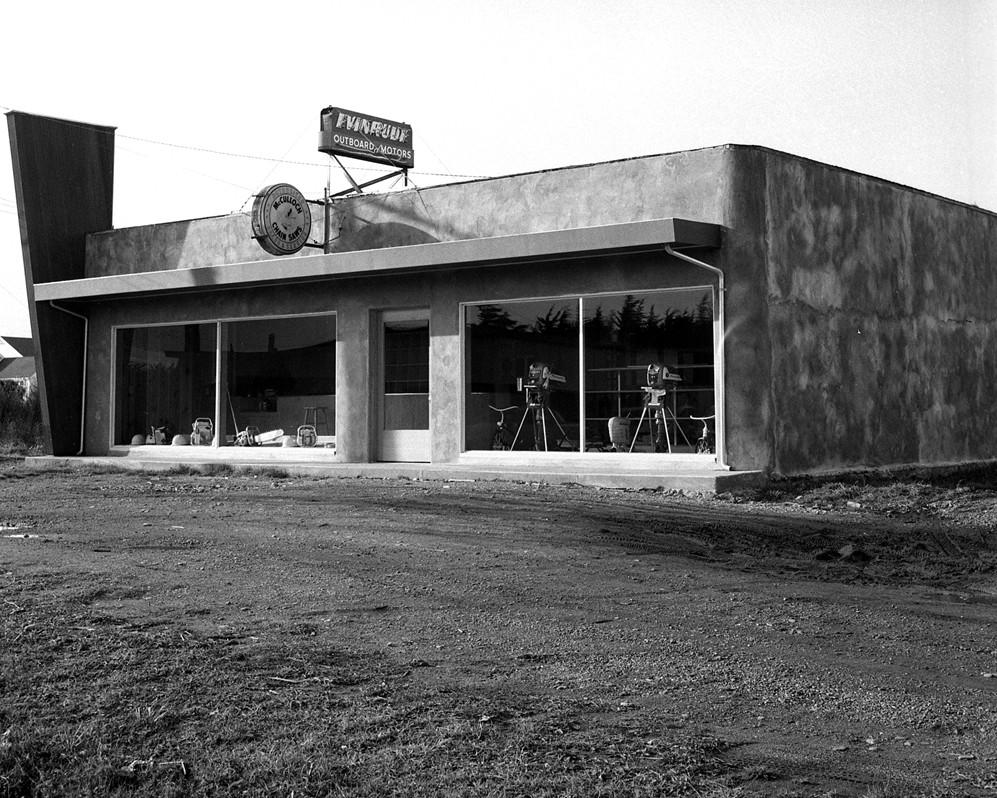 Bill Pullen's Evinrude/McCulloch Chain Saw shop, 1956
