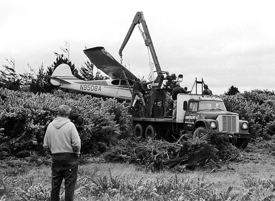 Lifting a plane out of the gorse, 1972