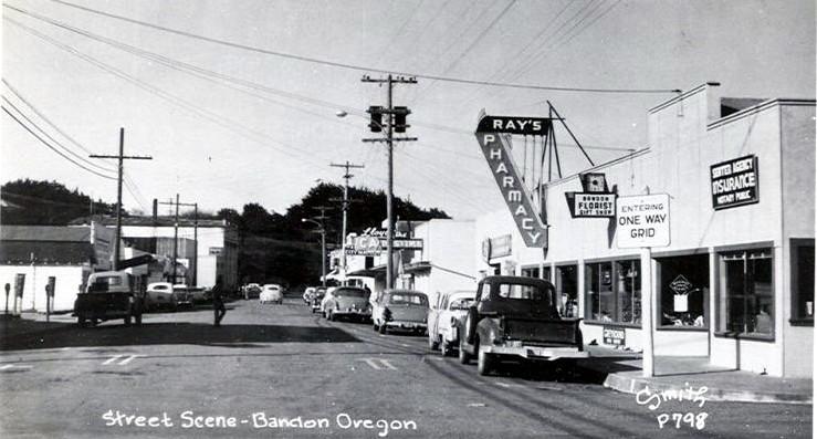 Downtown Bandon scene, 1970s