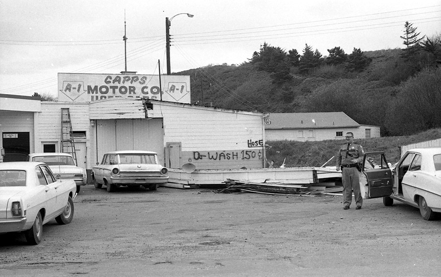 Capps Motor Co. service station being torn down 1969