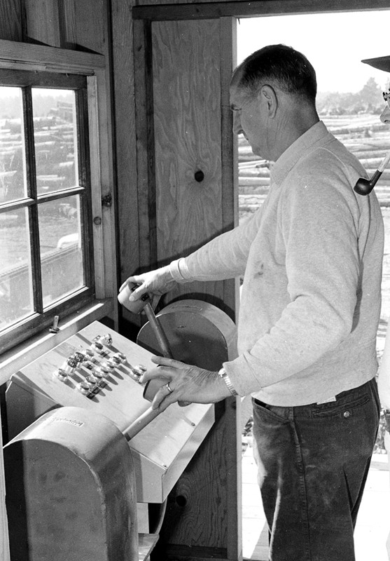'Bub' Perry at the controls of the Perry Bros. Mill, 1969
