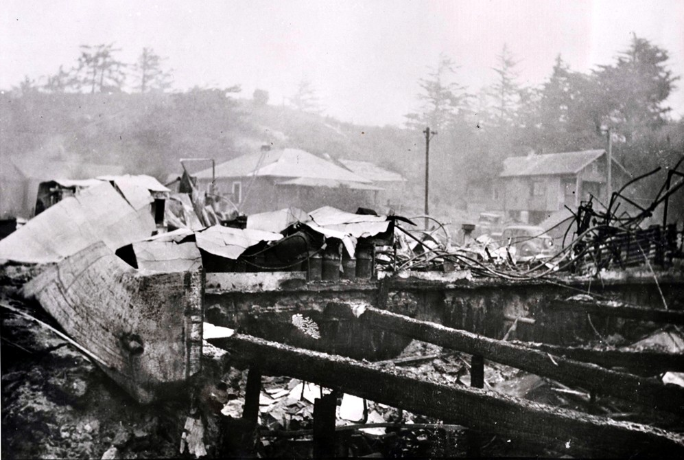 The cheese factory after the fire, 1936