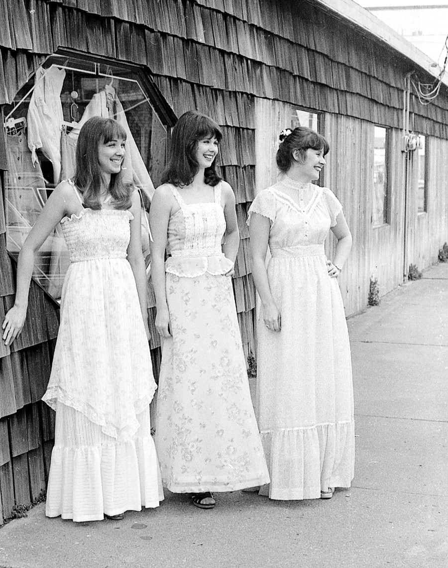 Three Bandon women modeling, 1980