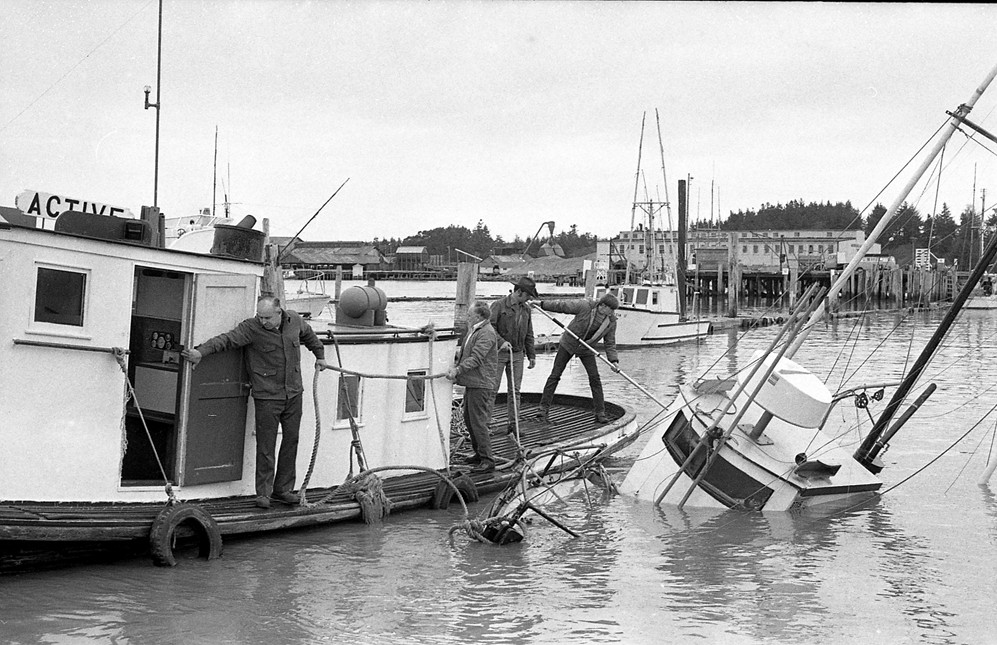 Sunk in harbor, 1973