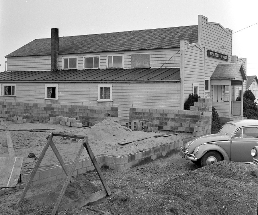 New addition being added to Bandon Assembly of God Church, 1958