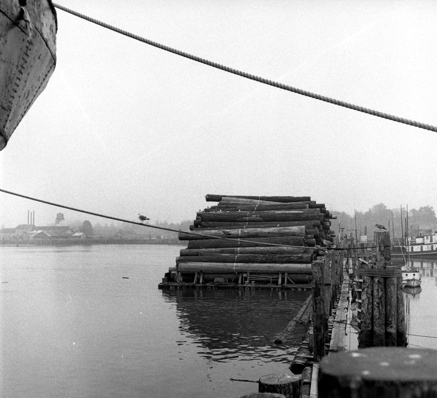 Moore Mill logs alongside the Port of Bandon dock
