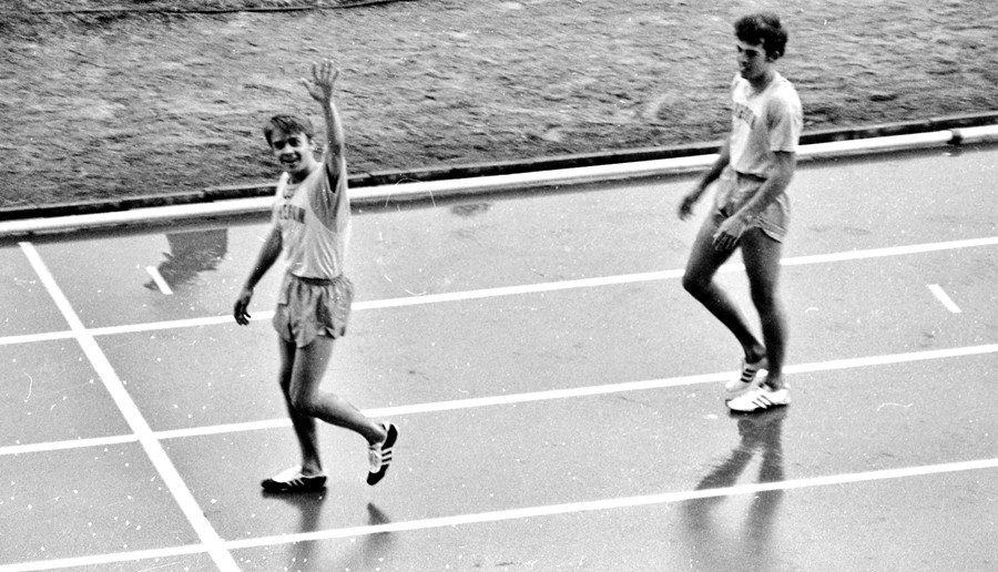 Steve Prefontaine during a University of Oregon track meet