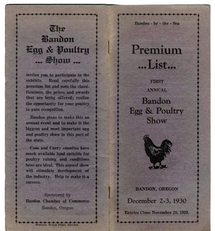 Bandon Egg & Poultry Show held Dec. 2-3, 1930