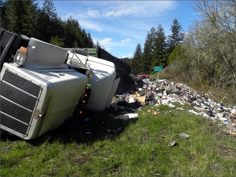 overturned garbage truck