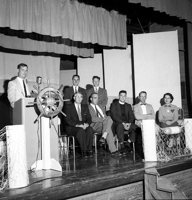 September of 1956 on the stage of the Ocean Crest School
